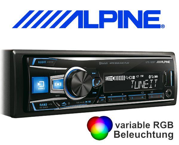 Alpine Autoradio UTE-92BT mit USB/iPhone/iPod-Anschluss Bluetooth