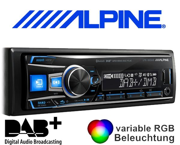 Alpine DAB+ Autoradio UTE-93DAB mit USB/iPhone/iPod-Anschluss Bluetooth