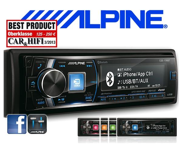 Alpine Autoradio CDE-178BT mit CD/USB/iPhone/iPod Bluetooth Facebook