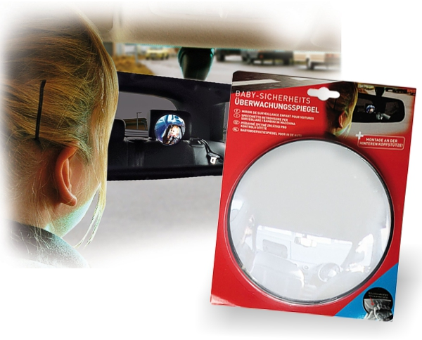 Baby Sicherheitsspiegel Überwachungsspiegel groß für Auto Kopfstütze