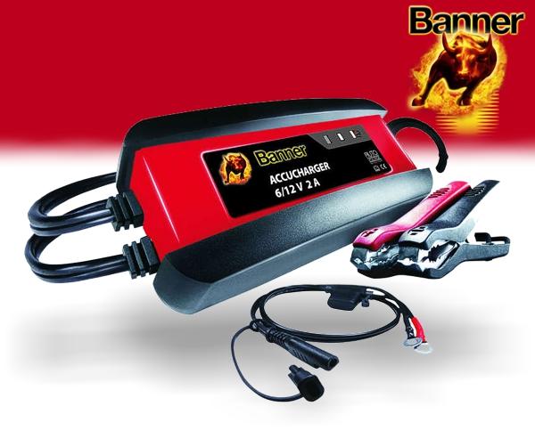 Banner Accucharger 2A Ladegerät für Auto Motorrad Roller Traktor Batterien 2000mA 6V 12V