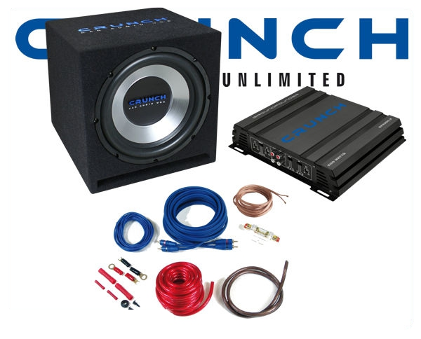 crunch 500 w subwoofer bass car hifi set inkl endstufe. Black Bedroom Furniture Sets. Home Design Ideas