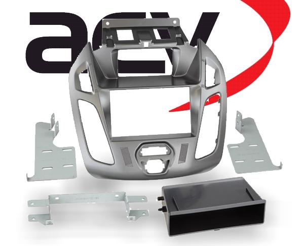 Doppel-DIN Einbaukit mit Ablagefach Ford Tourneo Transit Phönix silber