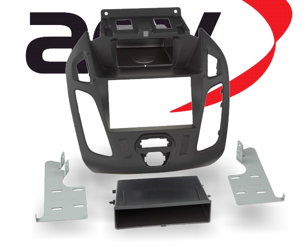 Doppel-DIN Einbaukit mit Ablagefach Ford Tourneo Transit schwarz