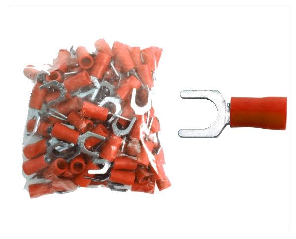 Kabelschuhe Gabel M6 rot 100 Stück