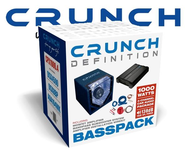 Crunch 1000 W Woofer Car Hifi Set inkl. Endstufe + Kabelsatz CPX1000.4
