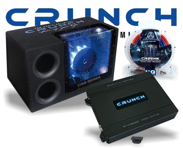 Crunch 1200 W Woofer Car Hifi Set inkl. Endstufe + Kabelsatz