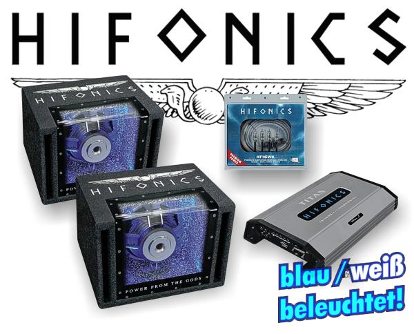 Hifonics 2000 W Woofer Car Hifi Set inkl. Endstufe + Kabelsatz