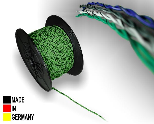 Lautsprecher-Kabel ISO grün 2x 0,75 mm² Vollkupfer Lautsprecherkabel verdrillt mit Markierung