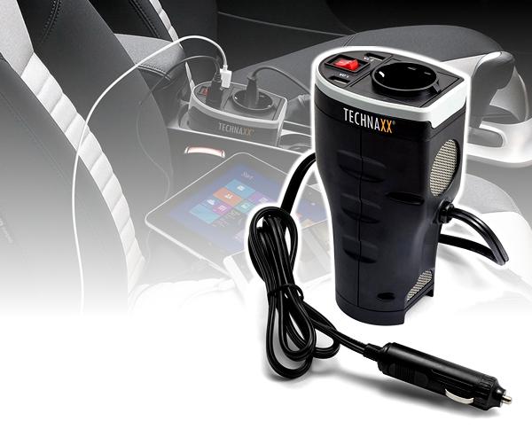 Spannungswandler für Becherhalter mit 2x USB Ladebuchse 12V 230V 200W TE13