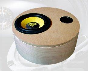 Zylinder-Gehäuse für Subwoofer 450x150 mm Volumen 19,8 l