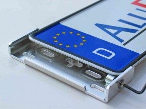 Kennzeichenhalter Alufixx 2.0 PREMIUM unsichtbarer Nummernschildhalter silber hochglanz poliert