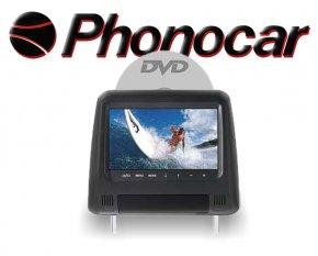 Universal Kopfstütze Kunstleder schwarz mit 7 Monitor DVD/USB/SD