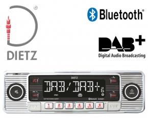 Retro Autoradio DAB+ USB Bluetooth für Oldtimer Farbe chrom