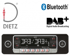 Retro Autoradio DAB+ USB Bluetooth für Oldtimer Farbe schwarz