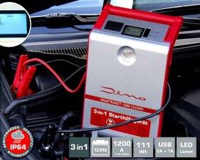 Dino Kraftpaket Profi Starthilfegerät für mobile Starthilfe im Auto oder Lkw auch Tiefentladen 1200A