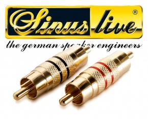 Sinuslive Cinch Verbinder 1 Paar 2 Stück vergoldet CVM Cinchverbinder Male
