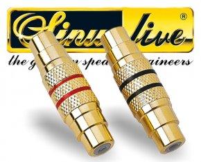 Sinuslive Cinch Verbinder 1 Paar 2 Stück vergoldet CVW Cinchverbinder Female