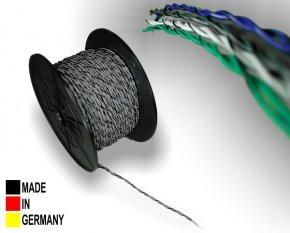 Lautsprecher-Kabel ISO grau 2x 0,75 mm² Vollkupfer Lautsprecherkabel verdrillt mit Markierung