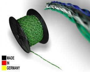 Lautsprecher-Kabel ISO grün 2x 1,5 mm² Vollkupfer Lautsprecherkabel verdrillt mit Markierung