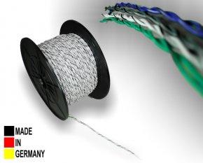 Lautsprecher-Kabel ISO weiß 2x 0,75 mm² Vollkupfer Lautsprecherkabel verdrillt mit Markierung