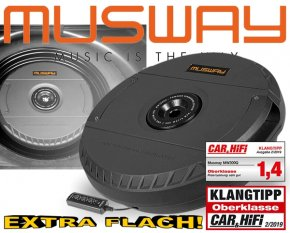 Musway Aktiv Notrad Reserverad Subwoofer Bass MW1000A 28cm 300W