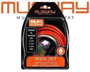 Endstufen Anschlußkabel Vollkupfer Kabel Set 3m+1m Musway MW6.3KIT
