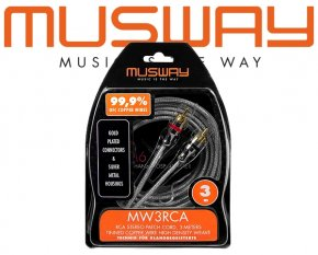 Musway Highclass Cinch-Kabel Vollkupfer Cinch-Audio-Kabel Stereo 3m MW3RCA