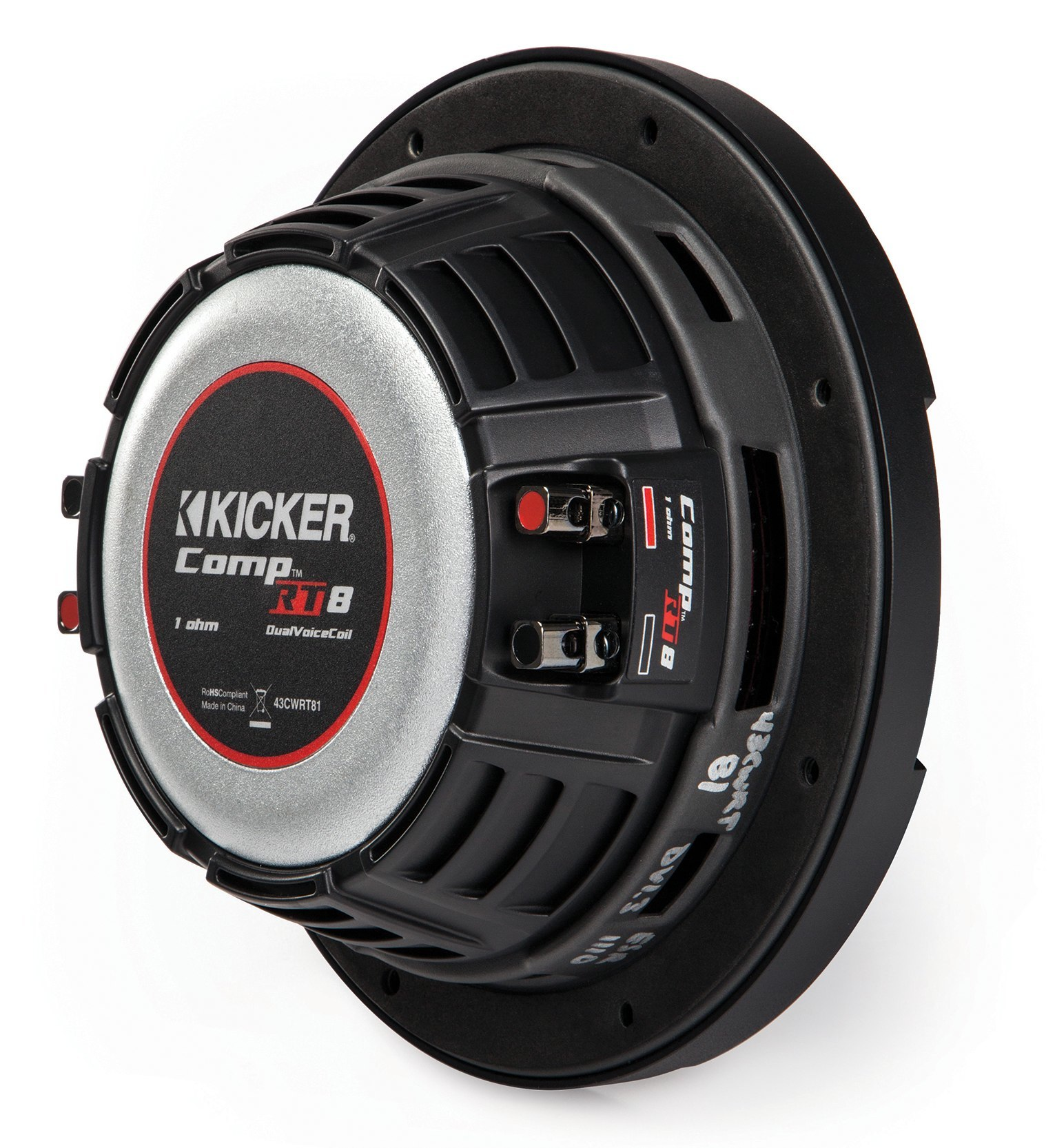 kicker subwoofer flach cwrt82 43 2x 2ohm 600w 20cm. Black Bedroom Furniture Sets. Home Design Ideas