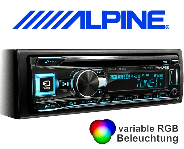 alpine autoradio cde 193bt cd usb bluetooth flac. Black Bedroom Furniture Sets. Home Design Ideas