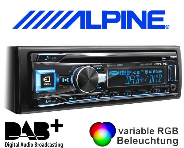 alpine dab autoradio cde 196dab cd usb bluetooth. Black Bedroom Furniture Sets. Home Design Ideas