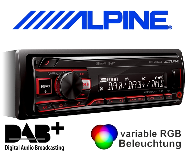 alpine dab autoradio ute 204dab bluetooth usb. Black Bedroom Furniture Sets. Home Design Ideas