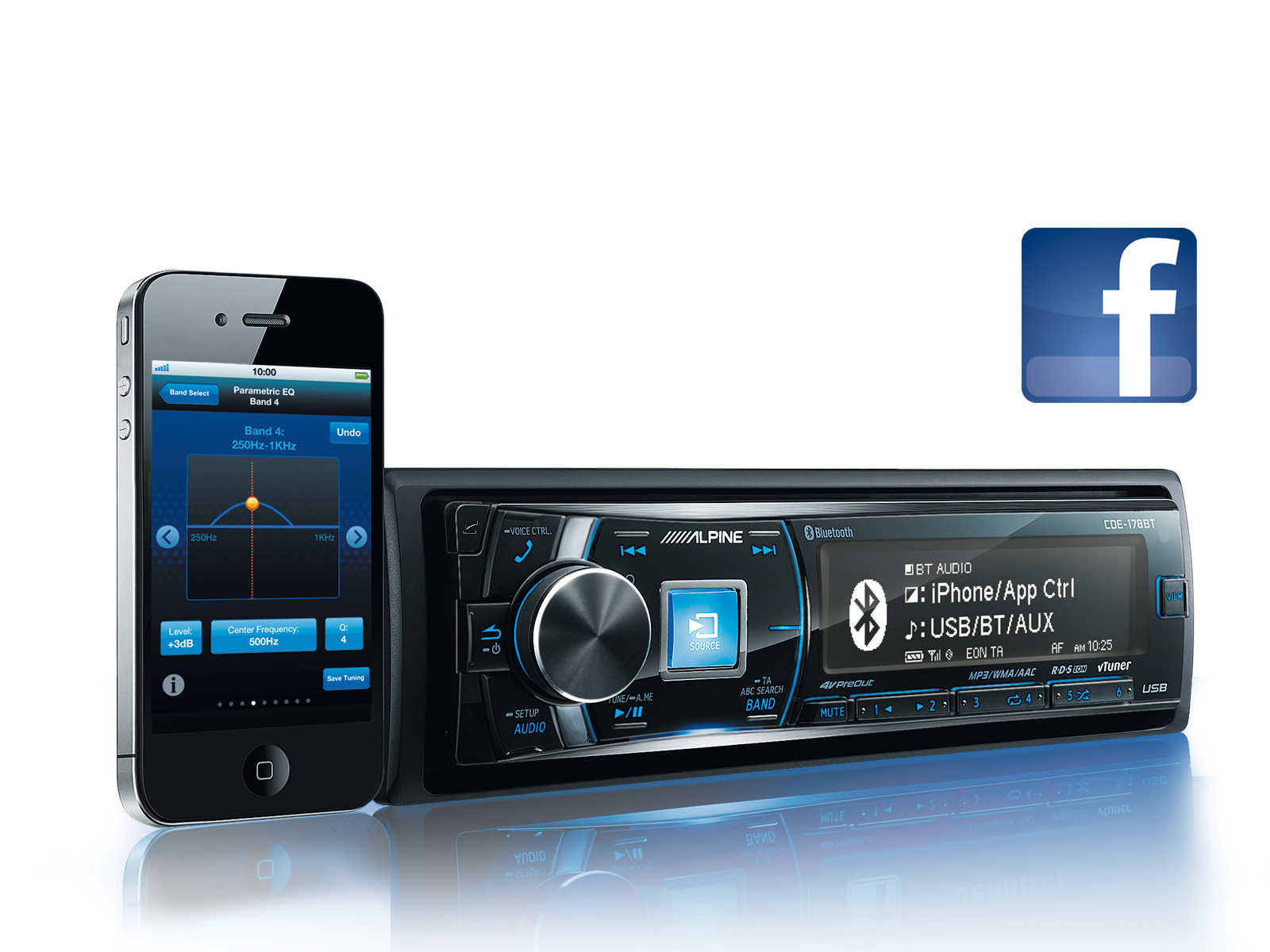 alpine autoradio cde 178bt cd usb iphone bluetooth. Black Bedroom Furniture Sets. Home Design Ideas
