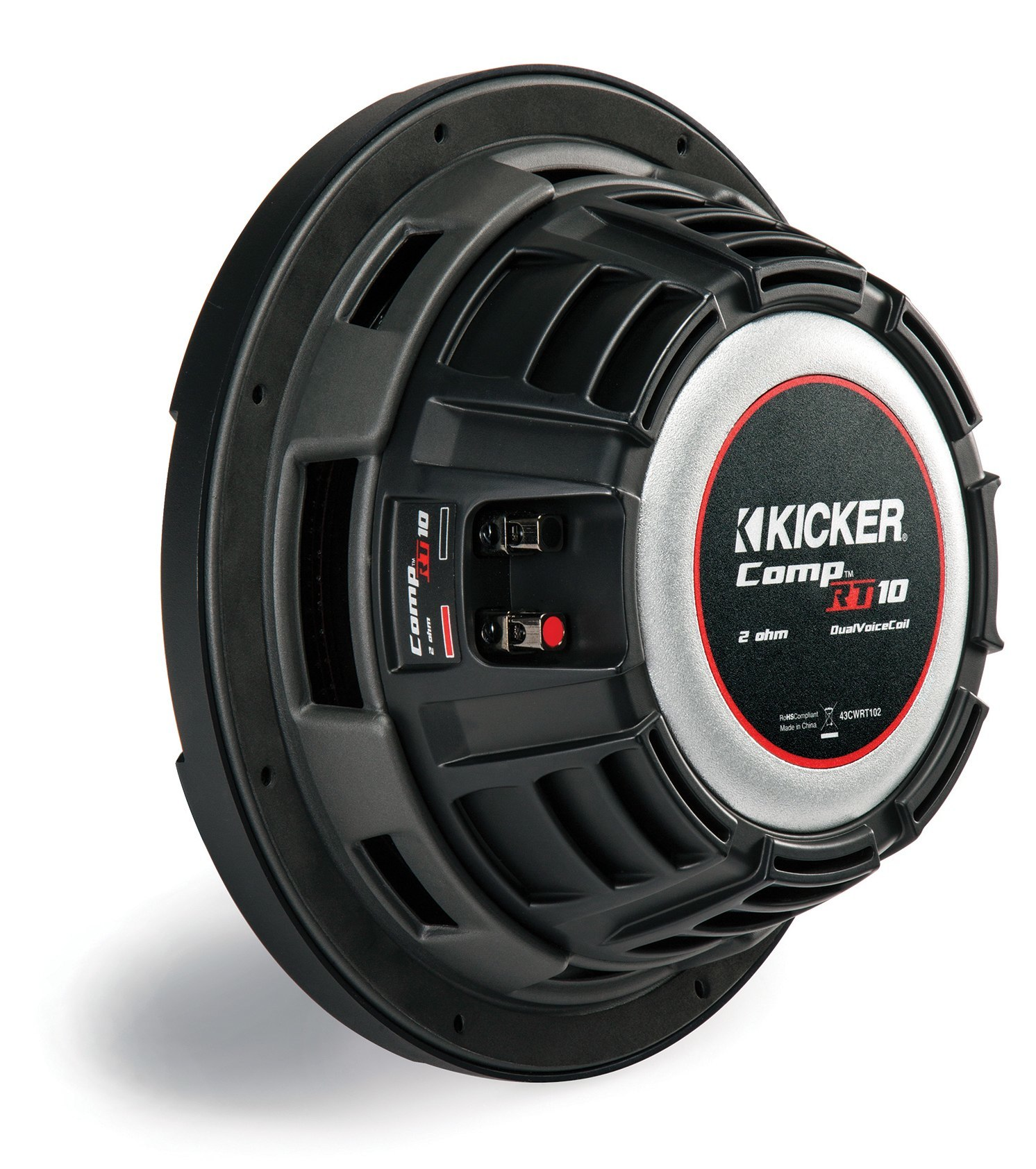 kicker subwoofer flach cwrt101 43 2x 1ohm 800w 25cm. Black Bedroom Furniture Sets. Home Design Ideas