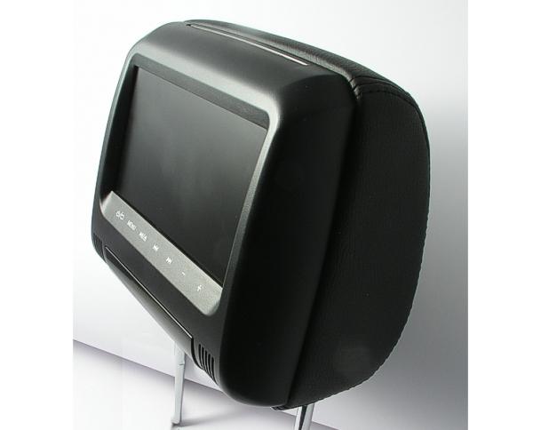 universal kopfst tze kunstleder schwarz mit 7 monitor dvd usb sd. Black Bedroom Furniture Sets. Home Design Ideas