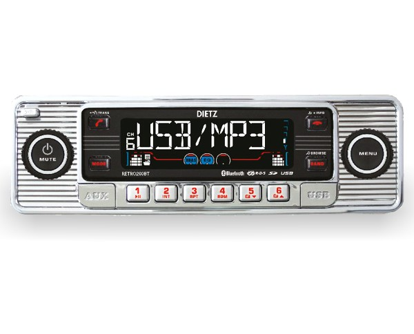 retro autoradio usb bluetooth cd oldtimer chrom. Black Bedroom Furniture Sets. Home Design Ideas