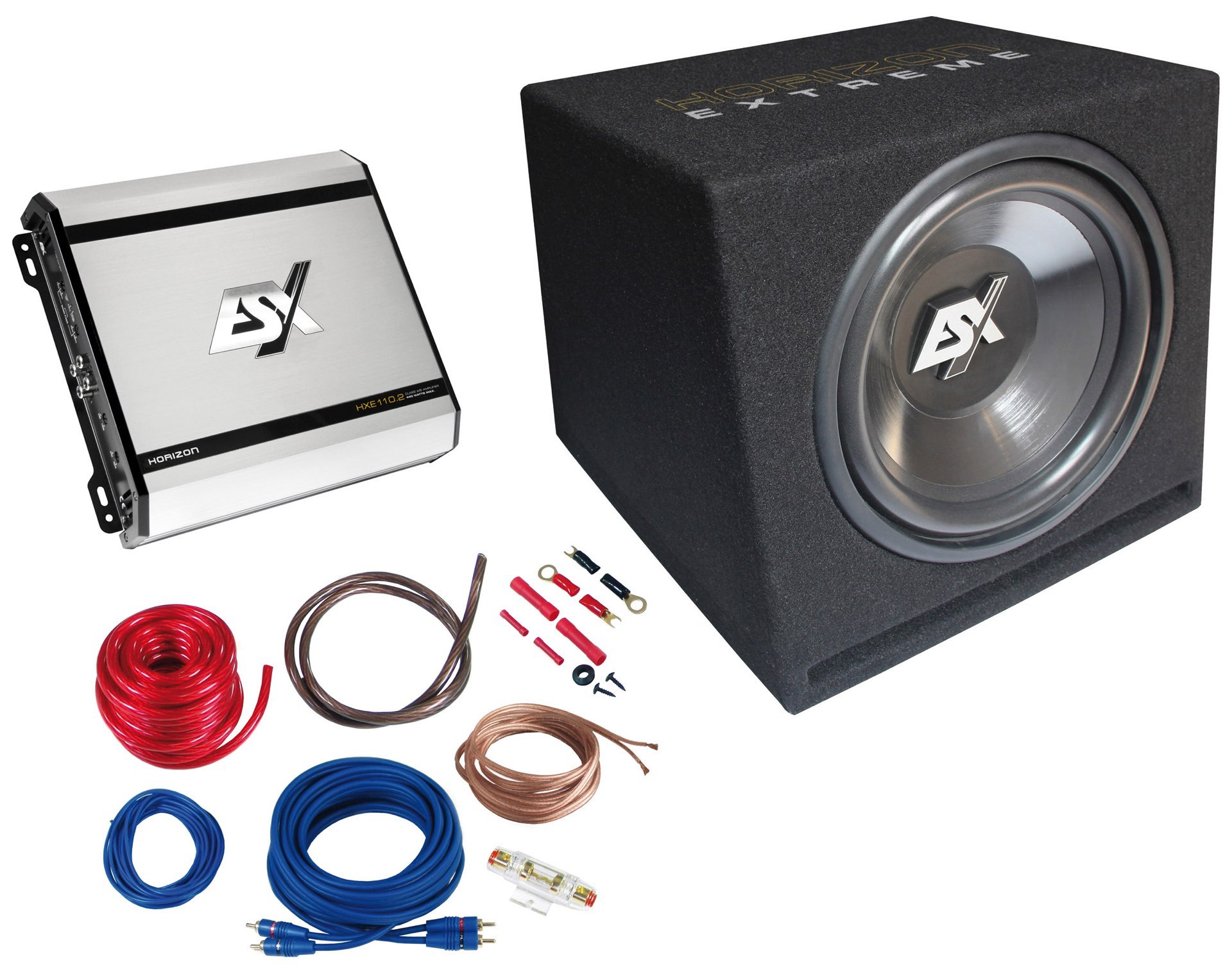 esx 440 w car hifi set subwoofer bass endstufe hxp2. Black Bedroom Furniture Sets. Home Design Ideas