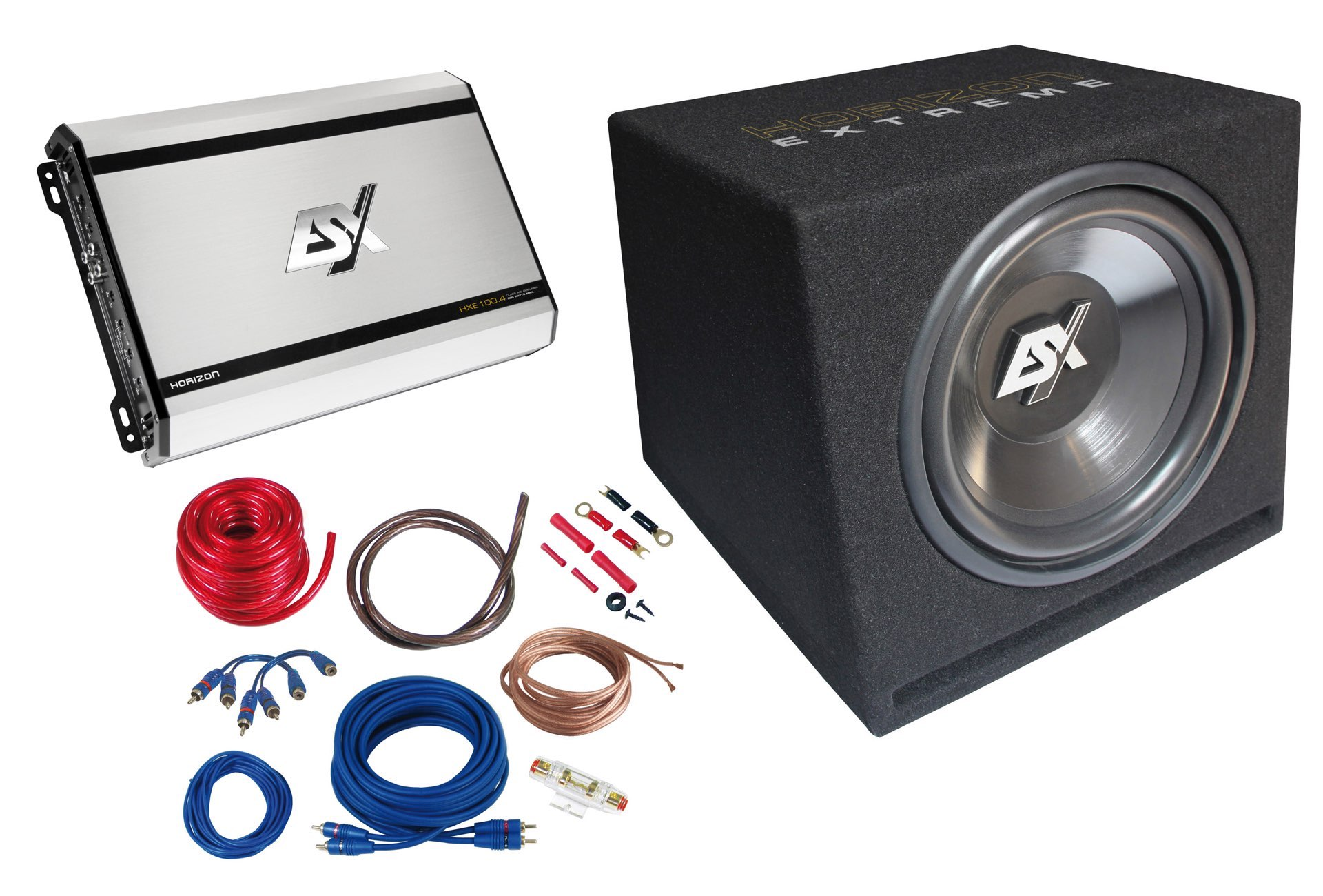 esx 800 w car hifi set subwoofer bass endstufe hxp4. Black Bedroom Furniture Sets. Home Design Ideas