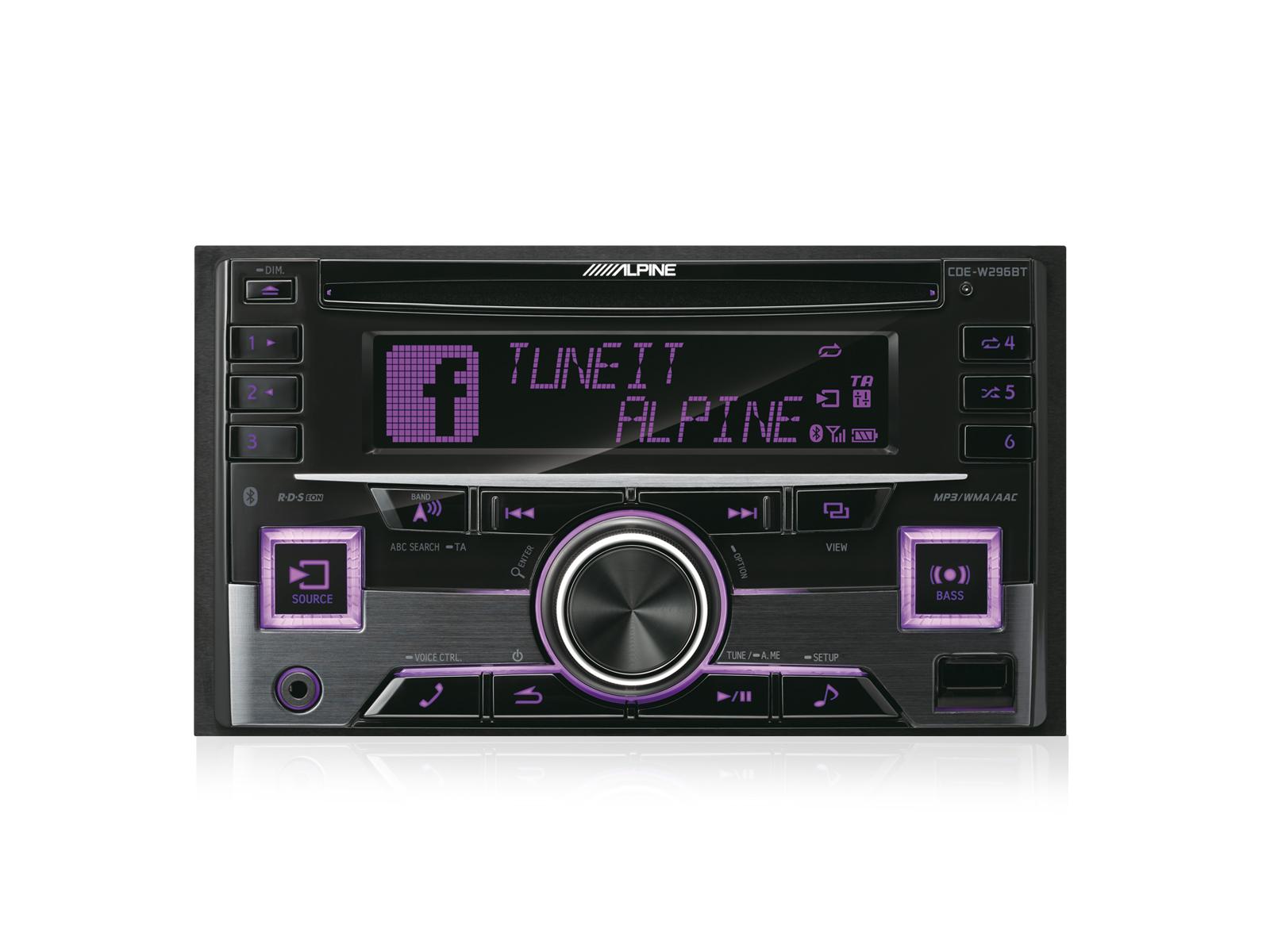 alpine 2 din autoradio cde w296bt mit cd usb iphone ipod und bluetooth. Black Bedroom Furniture Sets. Home Design Ideas