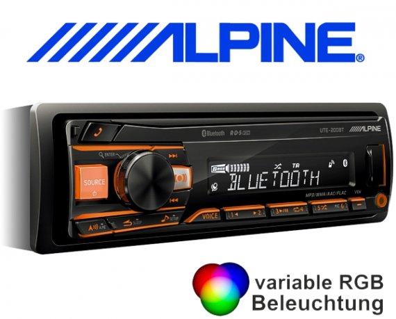 Alpine Autoradio UTE-200BT mit USB/iPhone/iPod-Anschluss Bluetooth