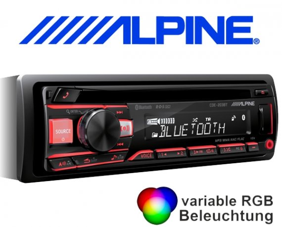 Alpine CD Autoradio CDE-203BT mit USB/iPhone/iPod-Anschluss Bluetooth