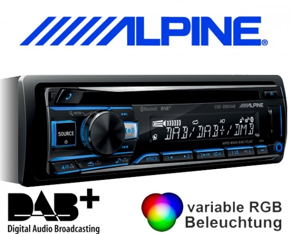 Alpine DAB+ CD Autoradio CDE-205DAB mit USB/iPhone/iPod-Anschluss Bluetooth