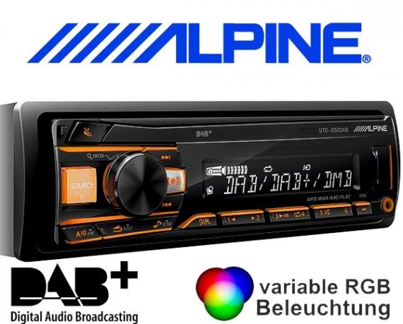Alpine DAB+ Autoradio UTE-202DAB mit USB/iPhone/iPod-Anschluss