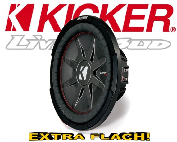 Kicker Subwoofer flach CompRT CWRT102-43 2x 2ohm 800W 25cm
