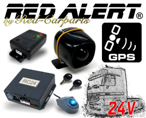 Red-Alert CAN-Bus LKW Alarmanlage RC24GPS inkl. Erschütterungssensor Akkusirene GPS Ortung 24V