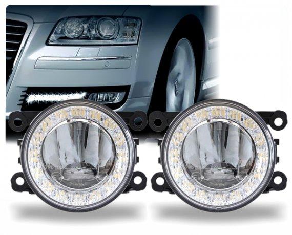 LED Tagfahrlicht Tagfahrleuchten mit Nebelleuchte rund Typ DRL9V-5W 90mm