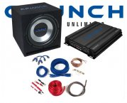 crunch 1000 w subwoofer bass car hifi set inkl endstufe. Black Bedroom Furniture Sets. Home Design Ideas