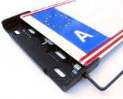 Kennzeichenhalter Alufixx 2.0 AT PREMIUM unsichtbarer Nummernschildhalter schwarz matt eloxiert für Österreich
