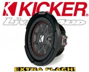 Kicker Subwoofer flach CompRT CWRT81-43 2x 1ohm 600W 20cm